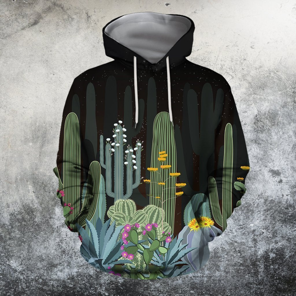 3D All Over Printed Black cactus Shirts-Apparel-NTH-Hoodie-S-Vibe Cosy™