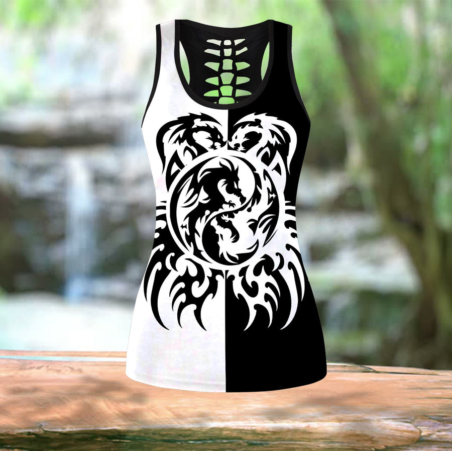 Black & White Dragon Tattoo Art Combo Tank + Legging HAC050502-Apparel-NM-S-S-Vibe Cosy™