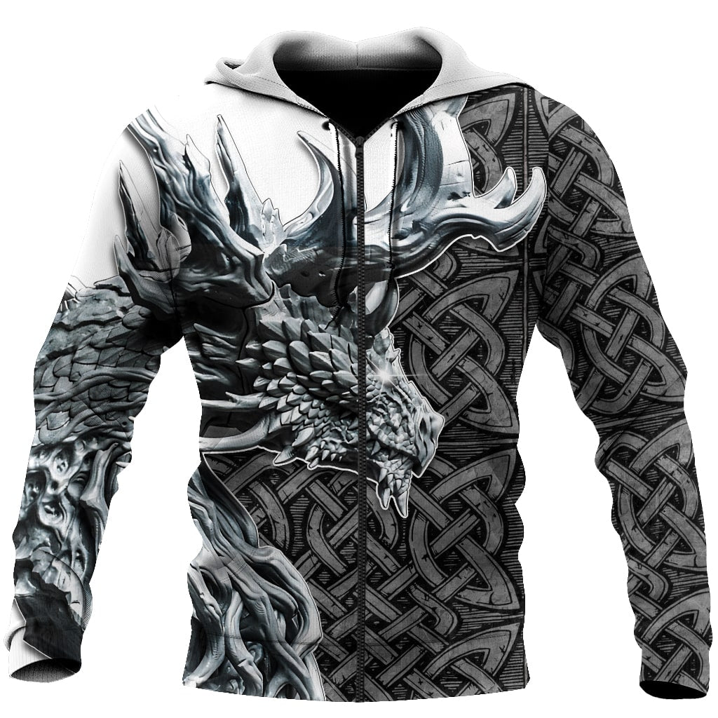 Dragon Celtic Art 3D Printed Hoodie Tshirt for Men and Women-ML