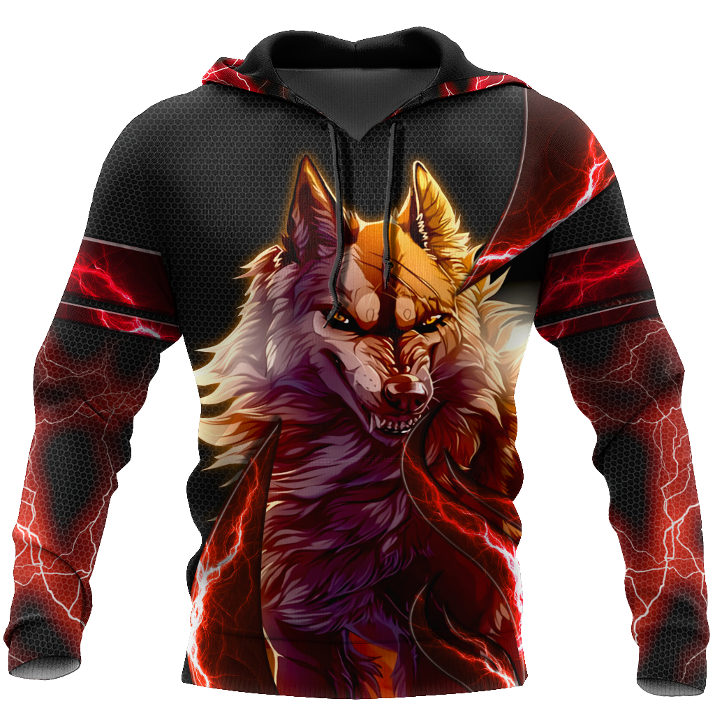 Red Thunder Wolf 3D All Over Printed Shirts For Men and Women HAC080102