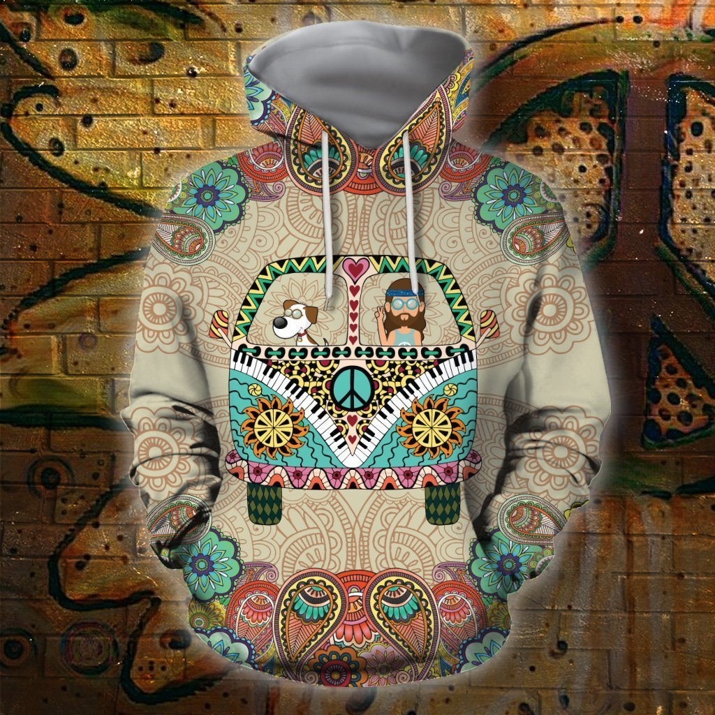 3D All Over Print Dog Hippie Hoodie-Apparel-HD09-Hoodie-S-Vibe Cosy™