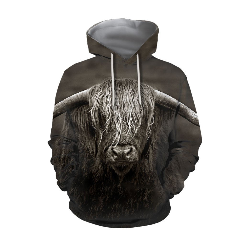 3D All Over Printed Cow Has Long Horns Hoodie-Apparel-HD09-Hoodie-S-Vibe Cosy™