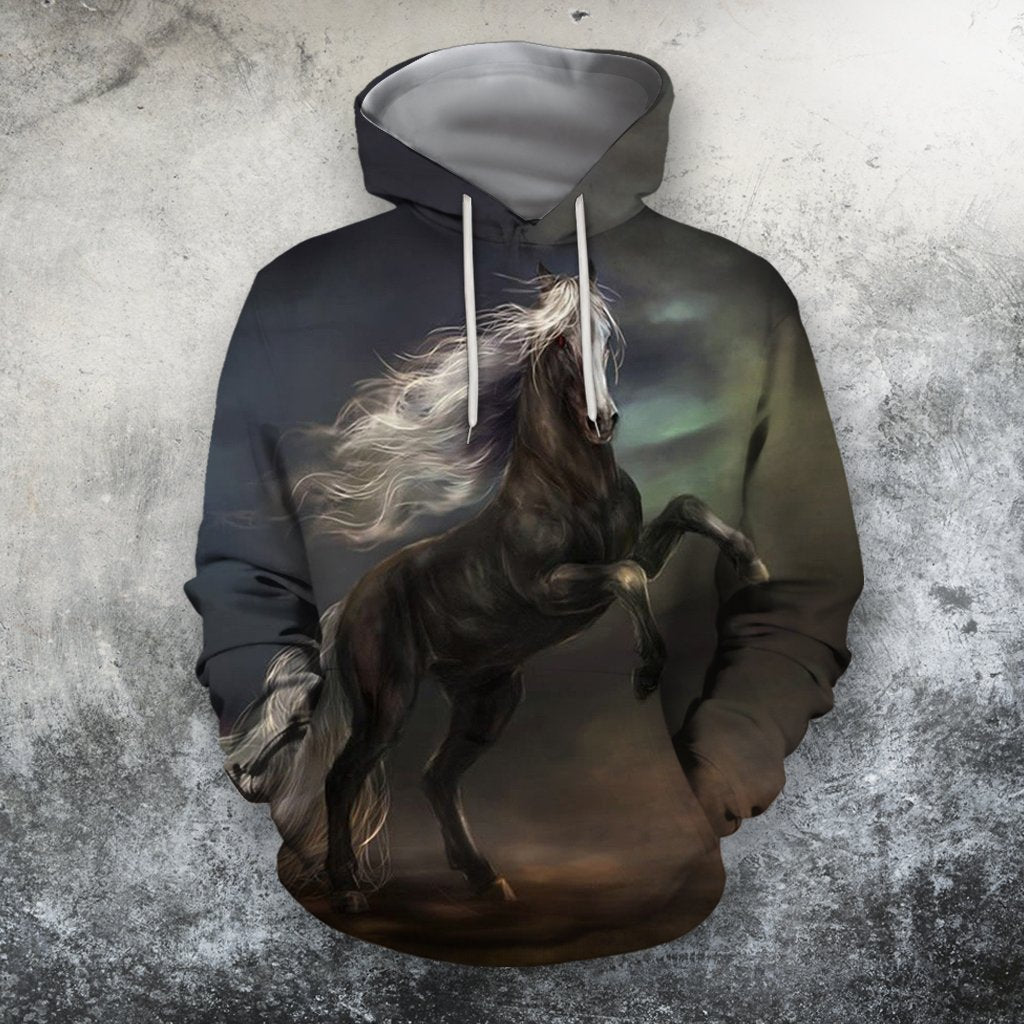 3D All Over Print Black Horse In The Dark Shirts-Apparel-Phaethon-Hoodie-S-Vibe Cosy™