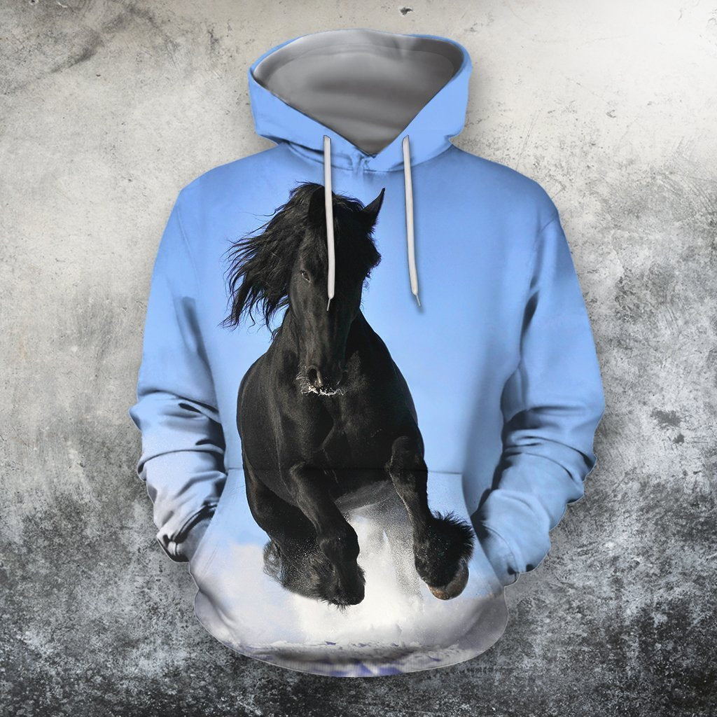 3D All Over Print Black Horse Blue Sky Shirts-Apparel-Phaethon-Hoodie-S-Vibe Cosy™
