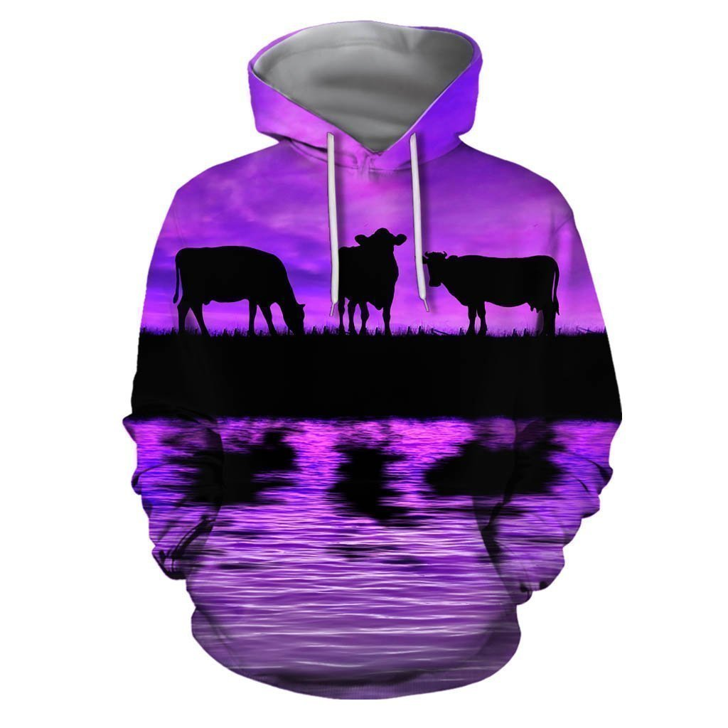 Sunset and Cow Violet Backgroud Hoodie-Apparel-HD09-Hoodie-S-Vibe Cosy™