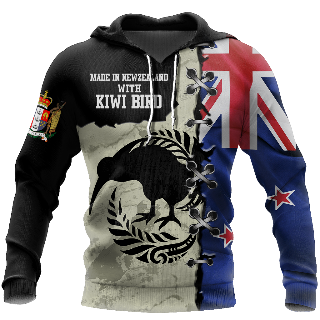 New Zealand Kiwi Bird Silver Fern T-Shirt Hoodie Zip all over shirts For Men and Women TR281203-Apparel-PL8386-Hoodie-S-Vibe Cosy™