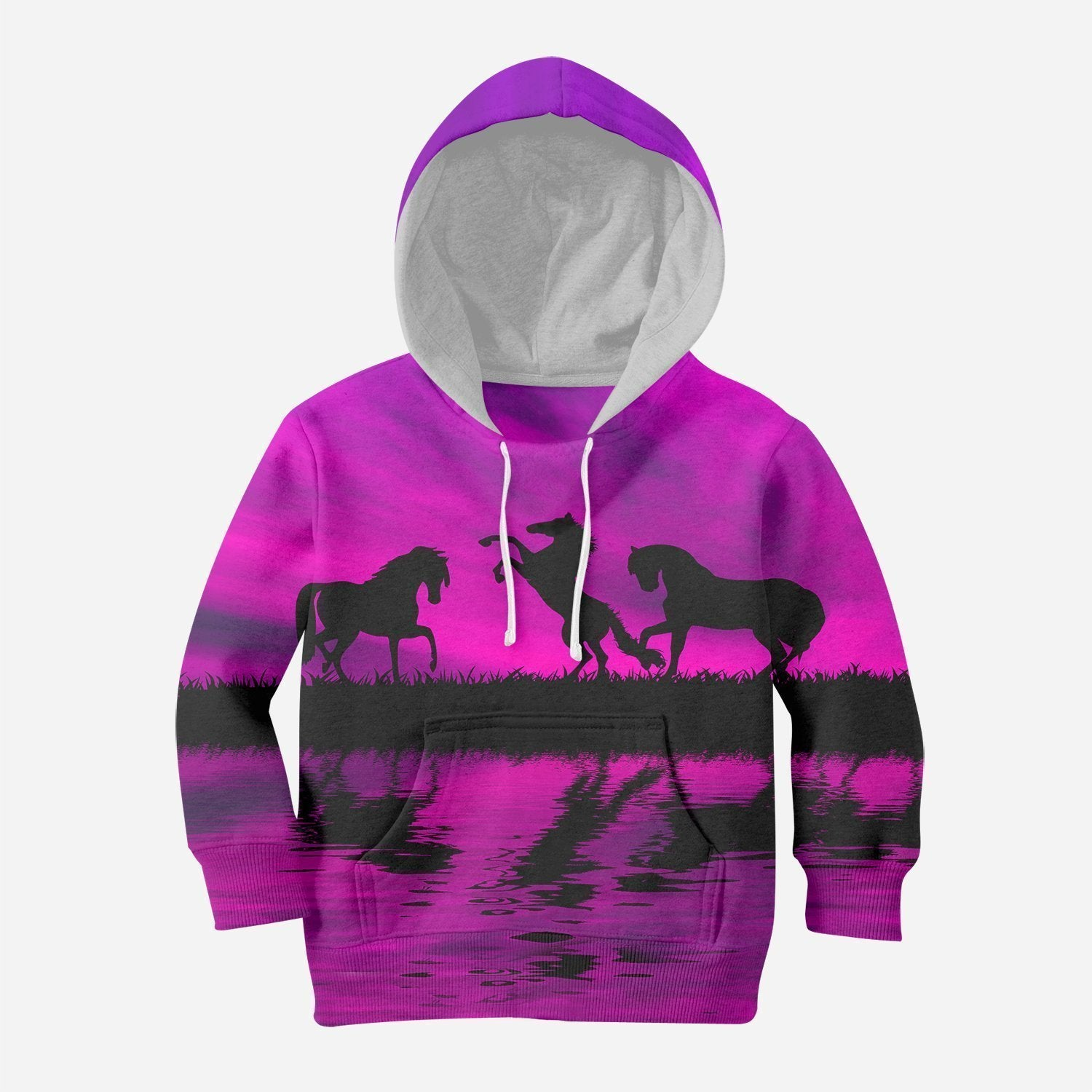 3D All Over Print Kid's Animals Horse Hoodie-Apparel-Phaethon-Hoodie-TODDLER 2T-Vibe Cosy™