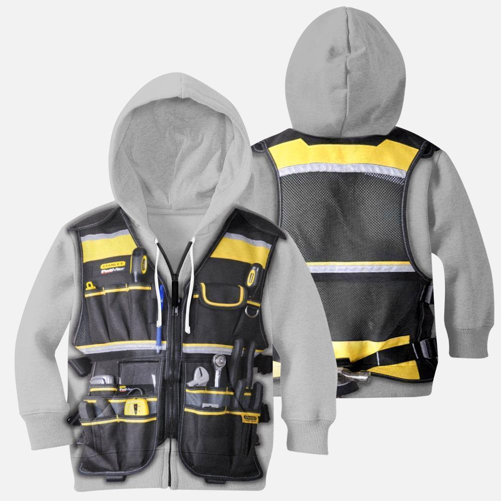 3D All Over Electrican Kids Hoodie-Apparel-HD09-ZIipped Hoodie-YOUTH XS-Vibe Cosy™