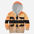 Sunset and Cow Kids All Over-Apparel-HD09-ZIPPED HOODIE-TODDLER 2T-Vibe Cosy™