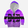 Sunset and Cow Violet Kids All Over-Apparel-HD09-ZIPPED HOODIE-TODDLER 2T-Vibe Cosy™