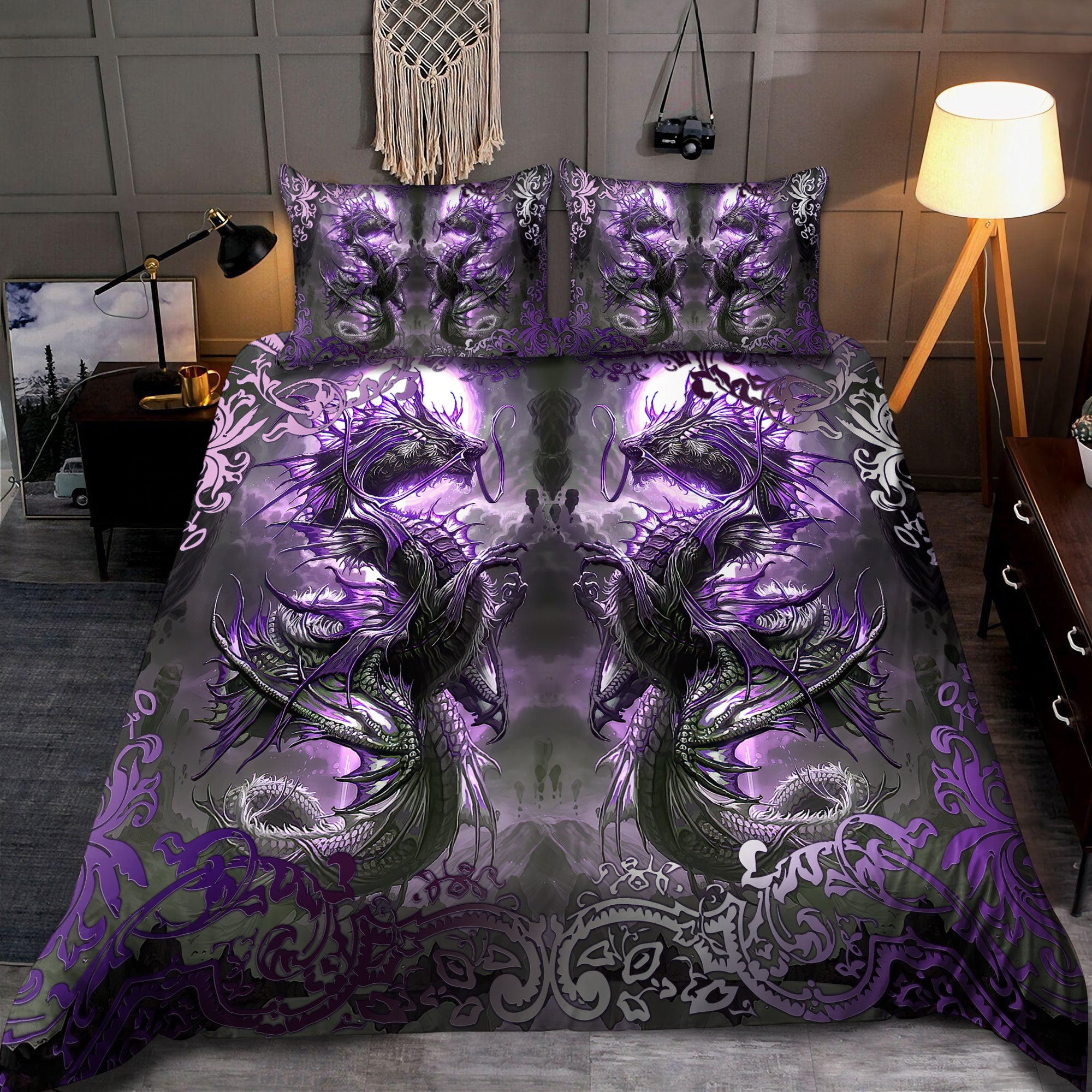 Dragon Spirit Art Purple 3D Printed Bedding Set-ML