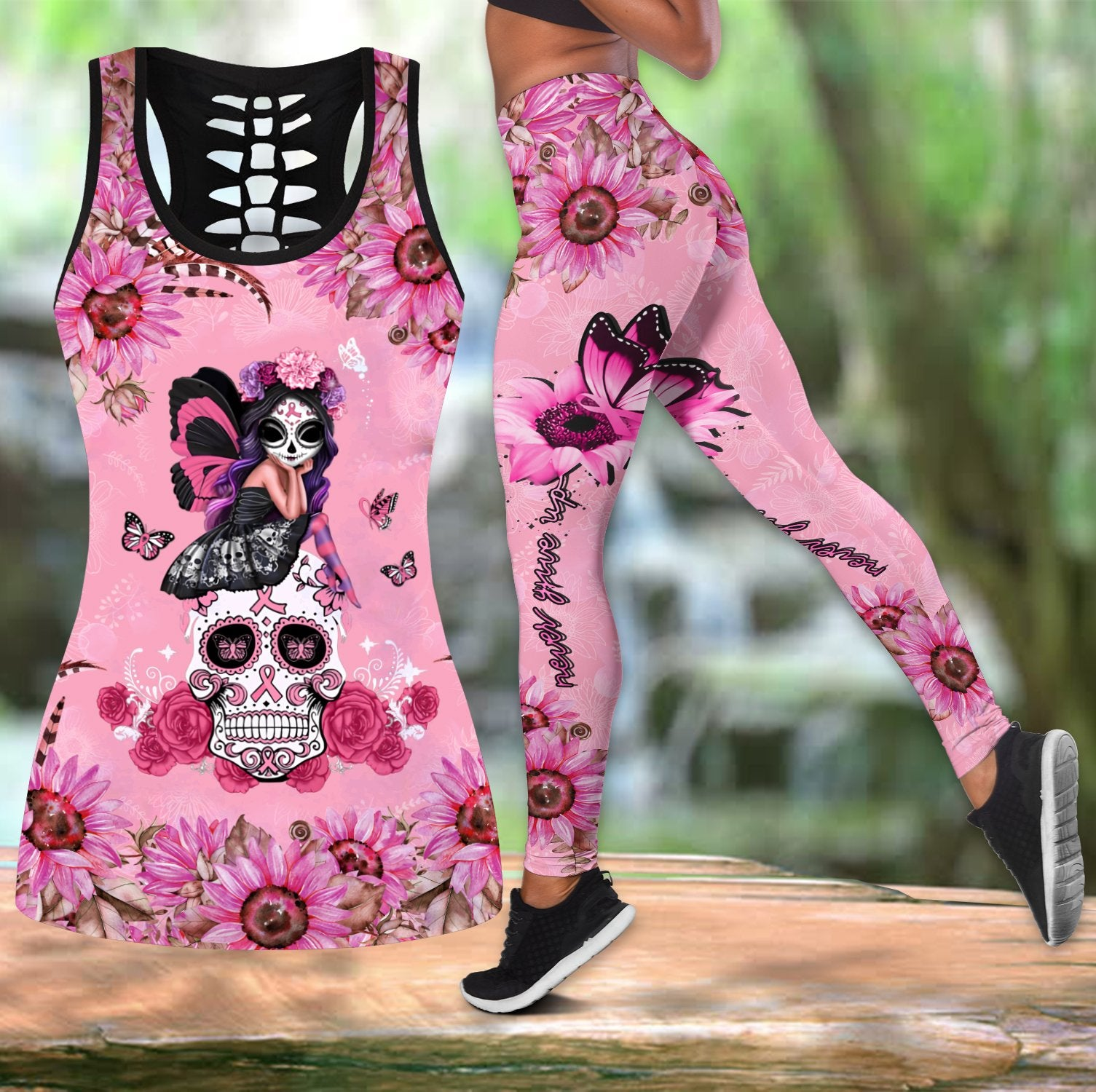 Breast cancer legging + hollow tank combo HAC270303-Apparel-HG-S-S-Vibe Cosy™