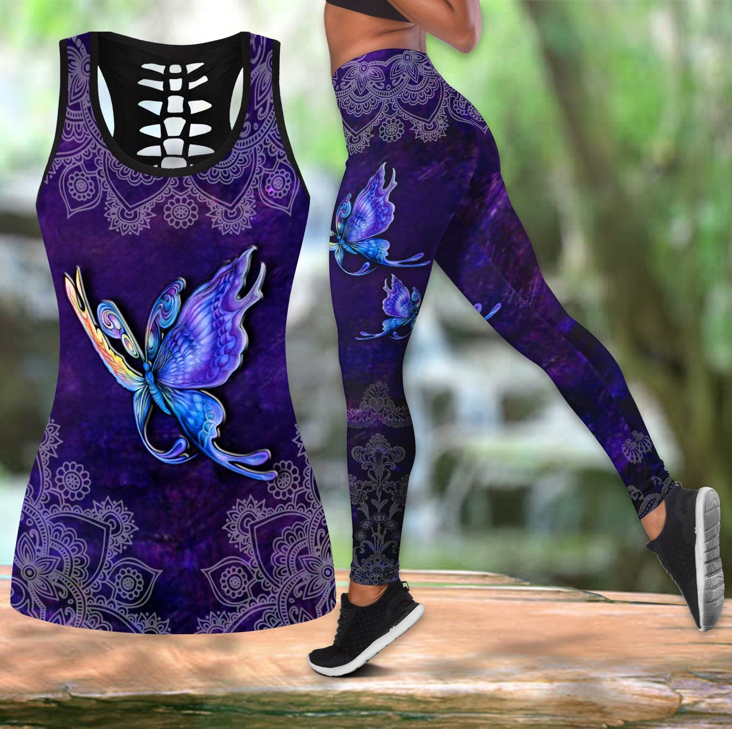 Butterfly legging + hollow tanktop combo HAC270301-Apparel-HG-S-S-Vibe Cosy™