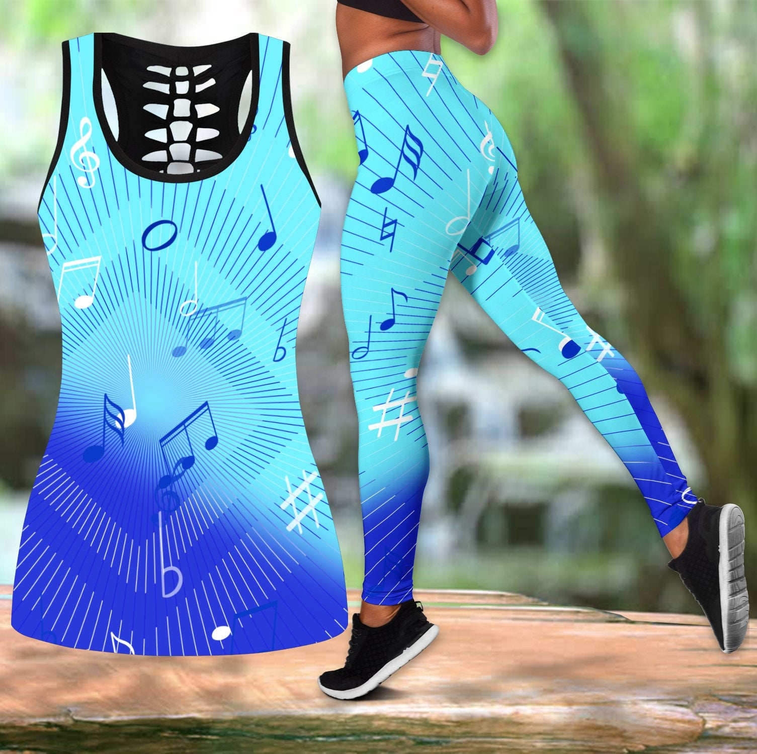 Music Notes Blue Combo Tank + Legging-Apparel-HP Arts-S-S-Vibe Cosy™