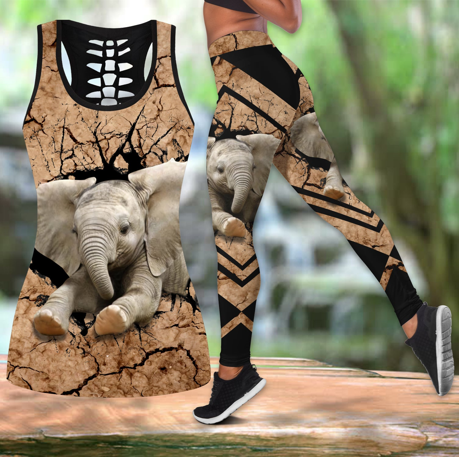 Elephant leggings + hollow tank combo HG71506S2-Apparel-HG-S-S-Vibe Cosy™