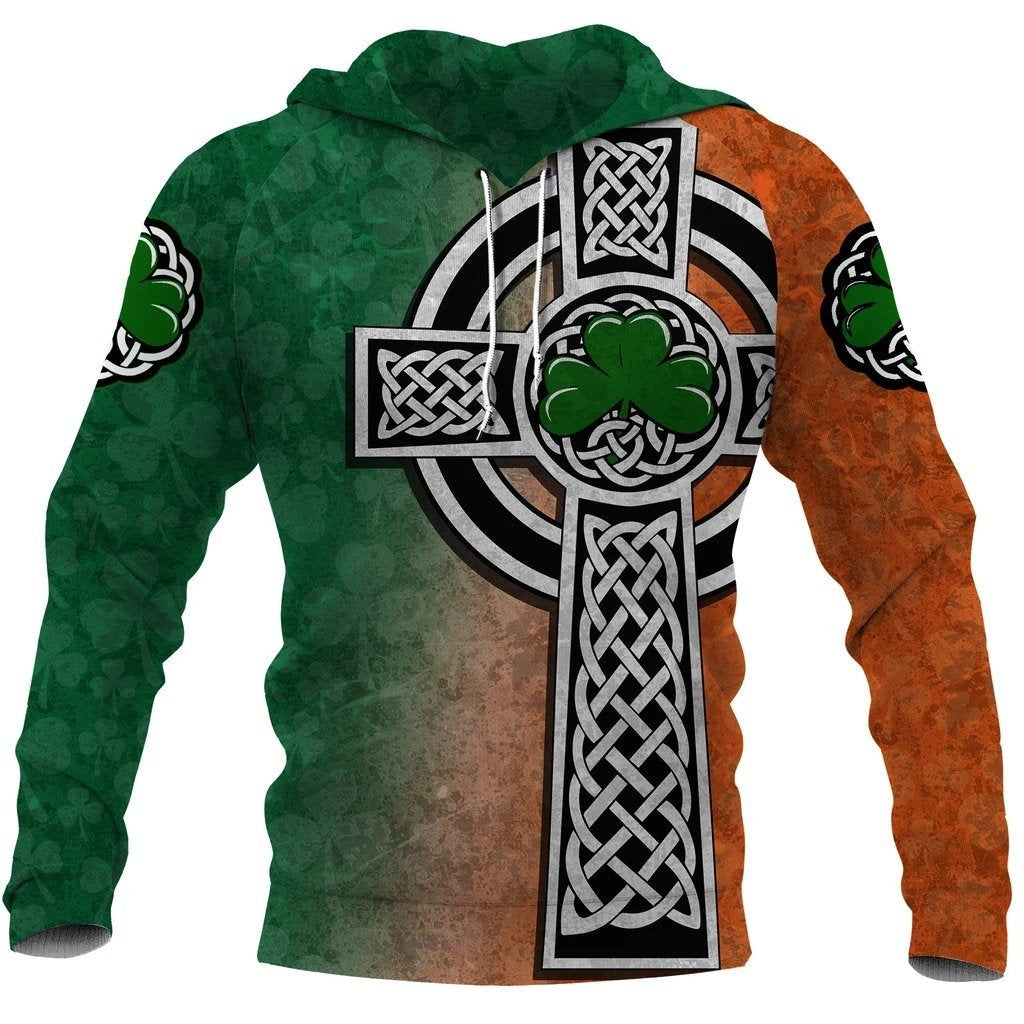 Irish Saint Patrick's Day Shamrock Celtic Cross Hoodie T-Shirt Sweatshirt-Apparel-NM-Hoodie-S-Vibe Cosy™