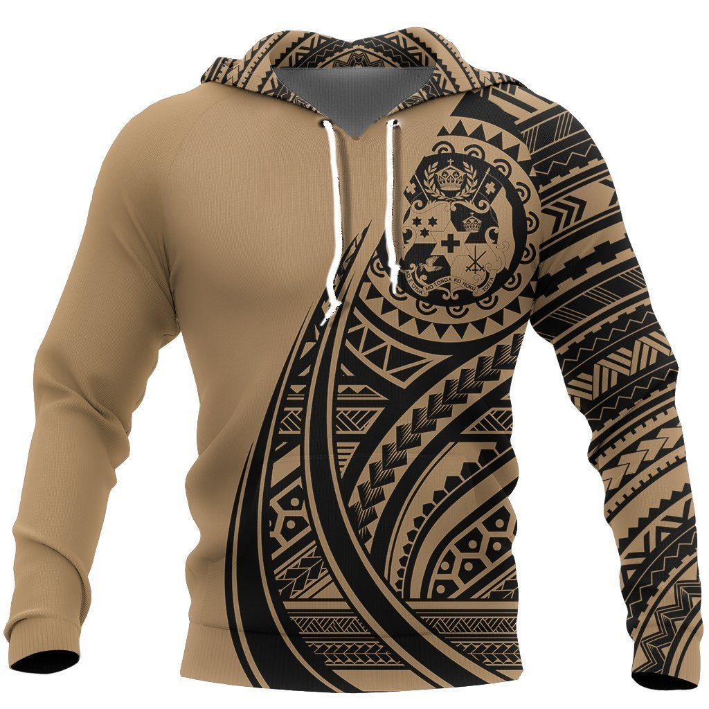 Tonga Coat Of Arms Polynesian Hoodie Tatoo Style Gold NNK 1219-Apparel-NNK-Hoodie-S-Vibe Cosy™