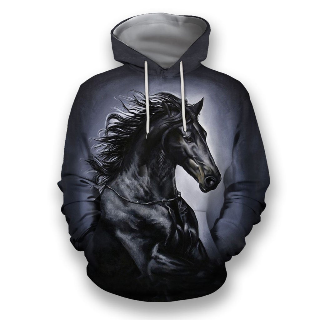 3D All Over Print Black Horse Art NK-Apparel-NNK-Hoodie-S-Vibe Cosy™