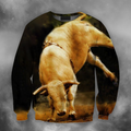 3D All Over Print Bull White Crazy Bull PHL102-Apparel-PHLong-Sweatshirt-S-Vibe Cosy™