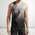 3D All Over Print Owl Drinking Coffee Shirts-Apparel-Phaethon-Tank Top-S-Vibe Cosy™