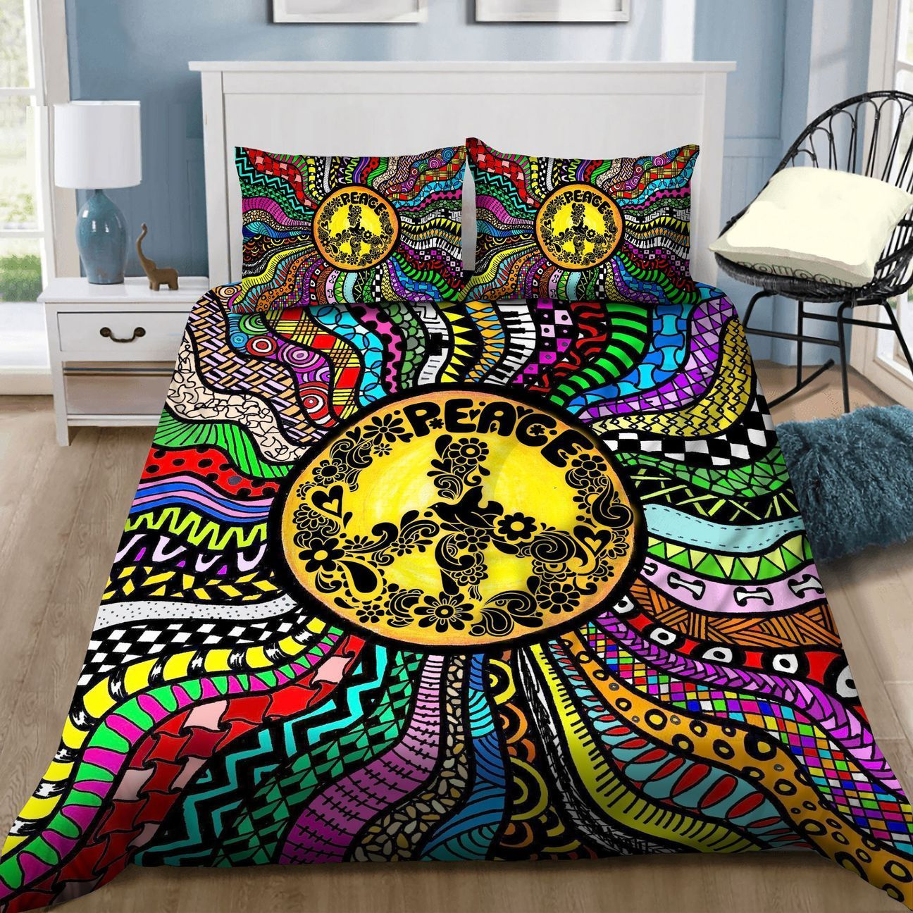 Hippie Colorful Peace Symbol Bedding Set TQH200780-BEDDING SETS-TQH-Twin-Vibe Cosy™