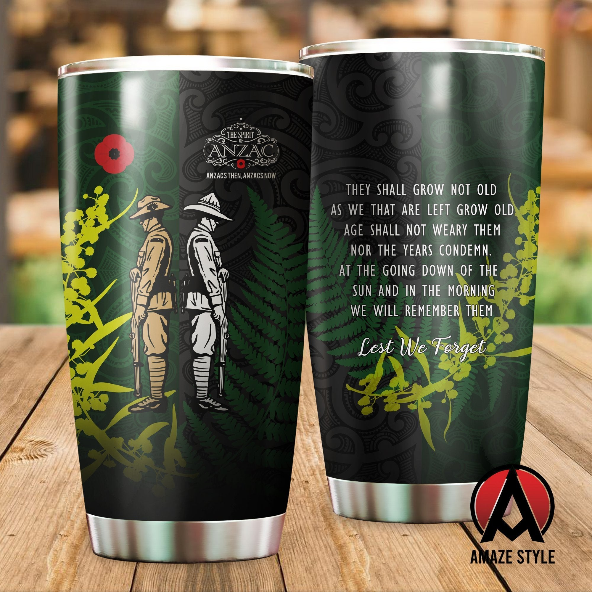 ANZAC day the ode Kiwi and Australia Soldier Stainless Steel Tumbler 20 Oz TR050303 - Amaze Style™-Tumbler