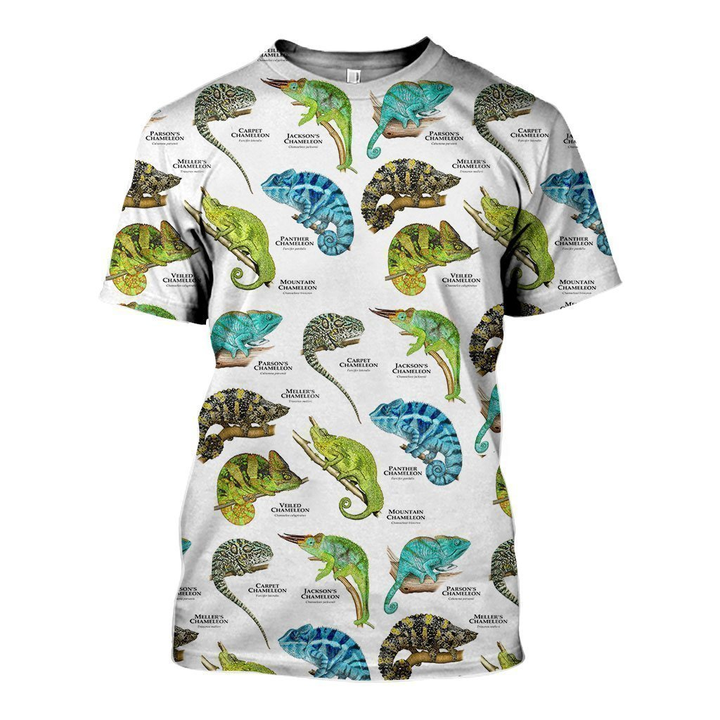 3D All Over Printed Chameleons of the World Shirts-Apparel-HP Arts-T-Shirt-S-Vibe Cosy™