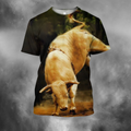 3D All Over Print Bull White Crazy Bull PHL102-Apparel-PHLong-T-Shirt-S-Vibe Cosy™