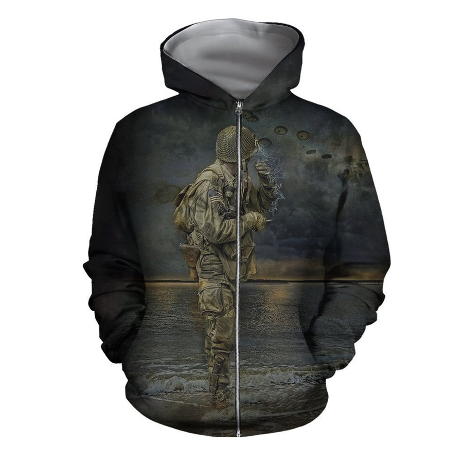 Army- Paratrooper Man Standing On The Shore-Apparel-HP Arts-Hoodie-S-Vibe Cosy™