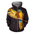 3D All Over Print Parrot L154000 Hoodie-Apparel-PHL-Zipped Hoodie-S-Vibe Cosy™