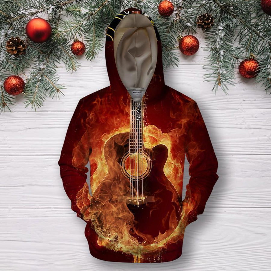 3D All Over Print Red Guitar Shirts HG-Apparel-HG-Hoodie-S-Vibe Cosy™