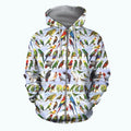 3D All Over Printed Parrots Shirts-Apparel-6teenth World-ZIPPED HOODIE-S-Vibe Cosy™