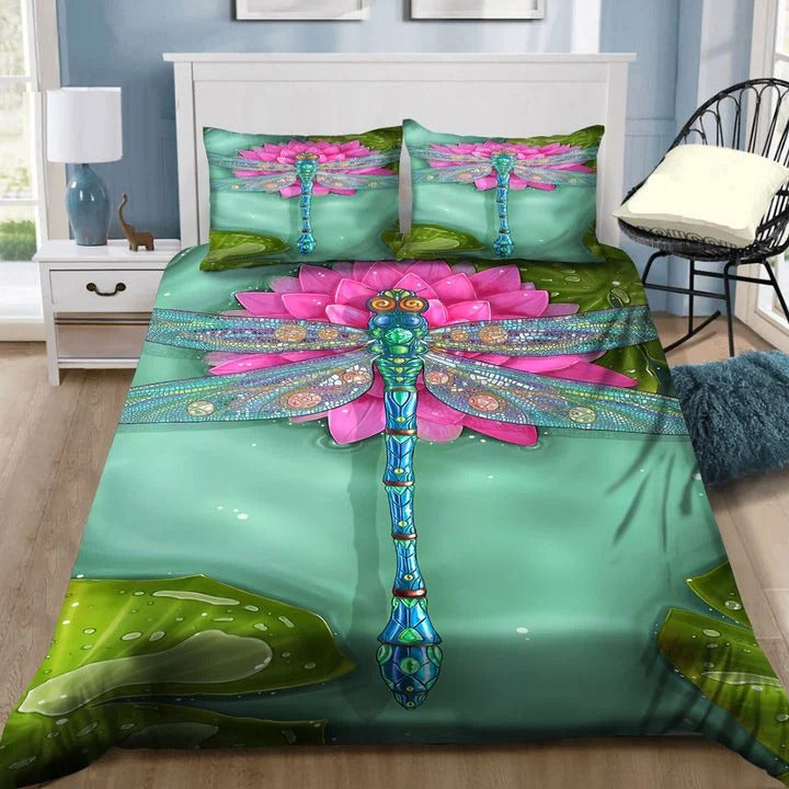 Dragonfly pink flower bedding set HG71104-HG-US Twin-Vibe Cosy™