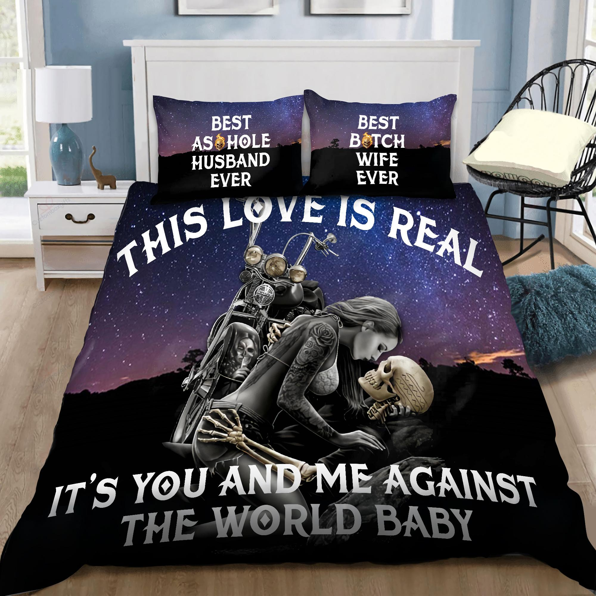 Couple Skulls Love To Death Bedding Set DQB07222001-TQH-BEDDING SETS-TQH-Twin-Vibe Cosy™