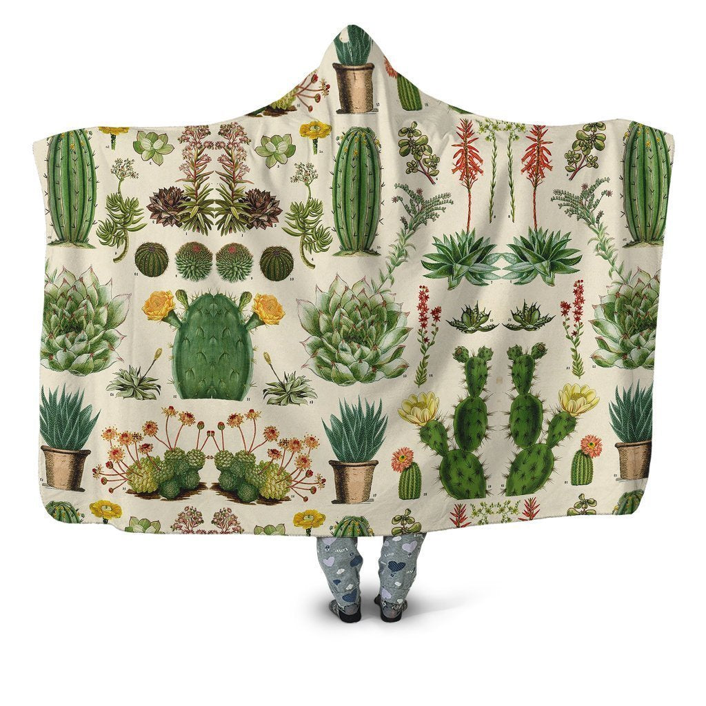 3D All Over Cacti Hoodie Blanket-Apparel-NTH-Hooded Blanket-Youth 49.6x59.05-Vibe Cosy™