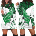 New Zealand Maori Fern Green Edition Hoodie Dress-Apparel-HD09-Hoodie Dress-S-Vibe Cosy™