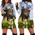 3D All Over Printed Cow And Flower Hoodie Dress-Apparel-HD09-Hoodie Dress-S-Vibe Cosy™