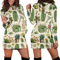 3D All Over Cacti Hoodie Dress-Apparel-NTH-Hoodie Dress-S-Vibe Cosy™