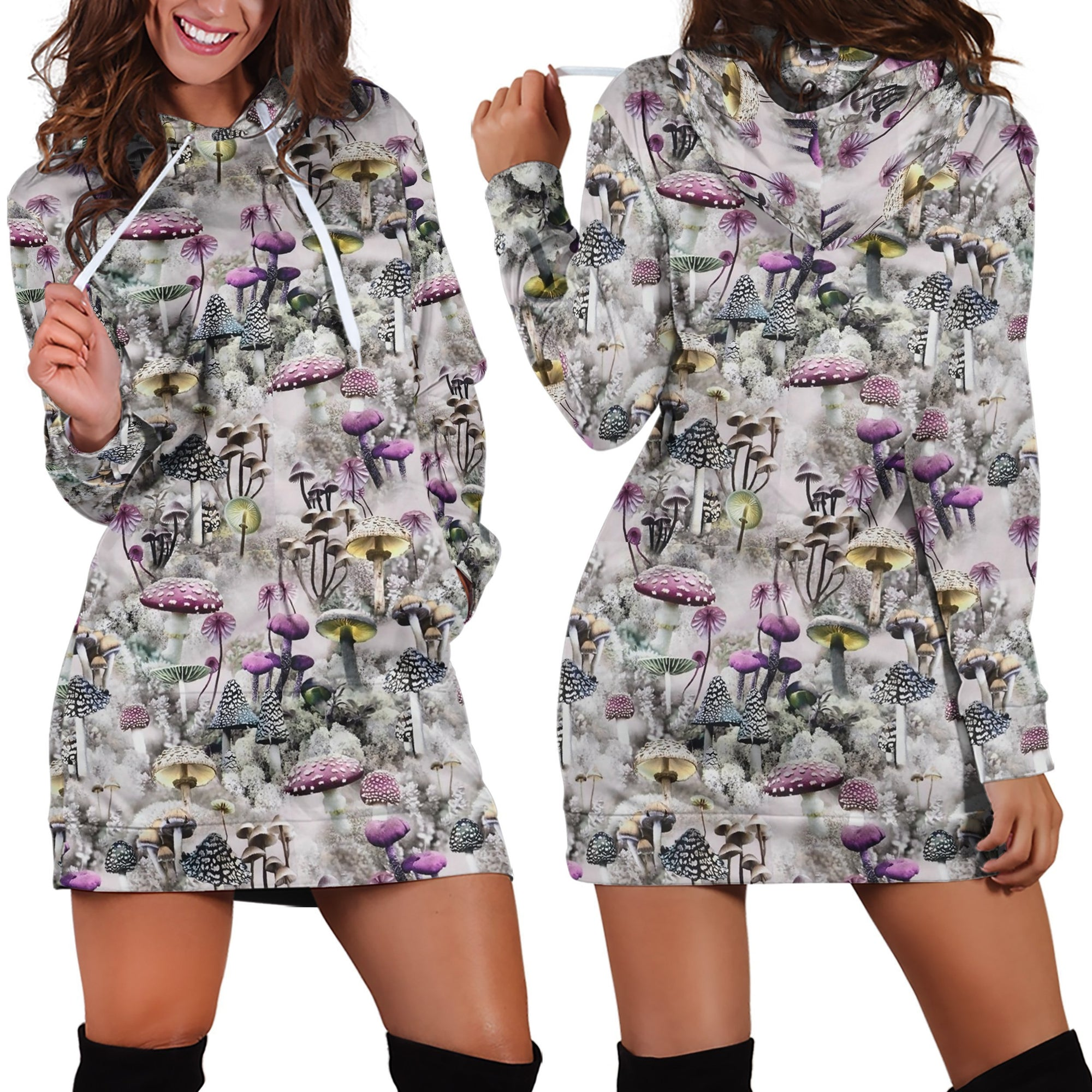 3D All Over Print Mushrooms and Winter Hoodie Dress-Apparel-NTH-Hoodie Dress-S-Vibe Cosy™