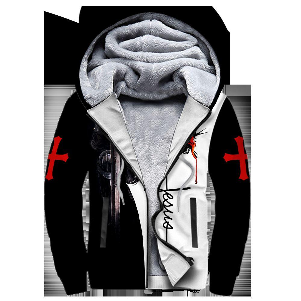 A CHILD OF GOD A MAN OF FAITH A WARRIOR OF CHRIST KNIGHT CHRISTIAN ALL OVER PRINTED FLEECE SHIRTS-Aparel-MP-Fleece zipper Hoodie-S-Vibe Cosy™