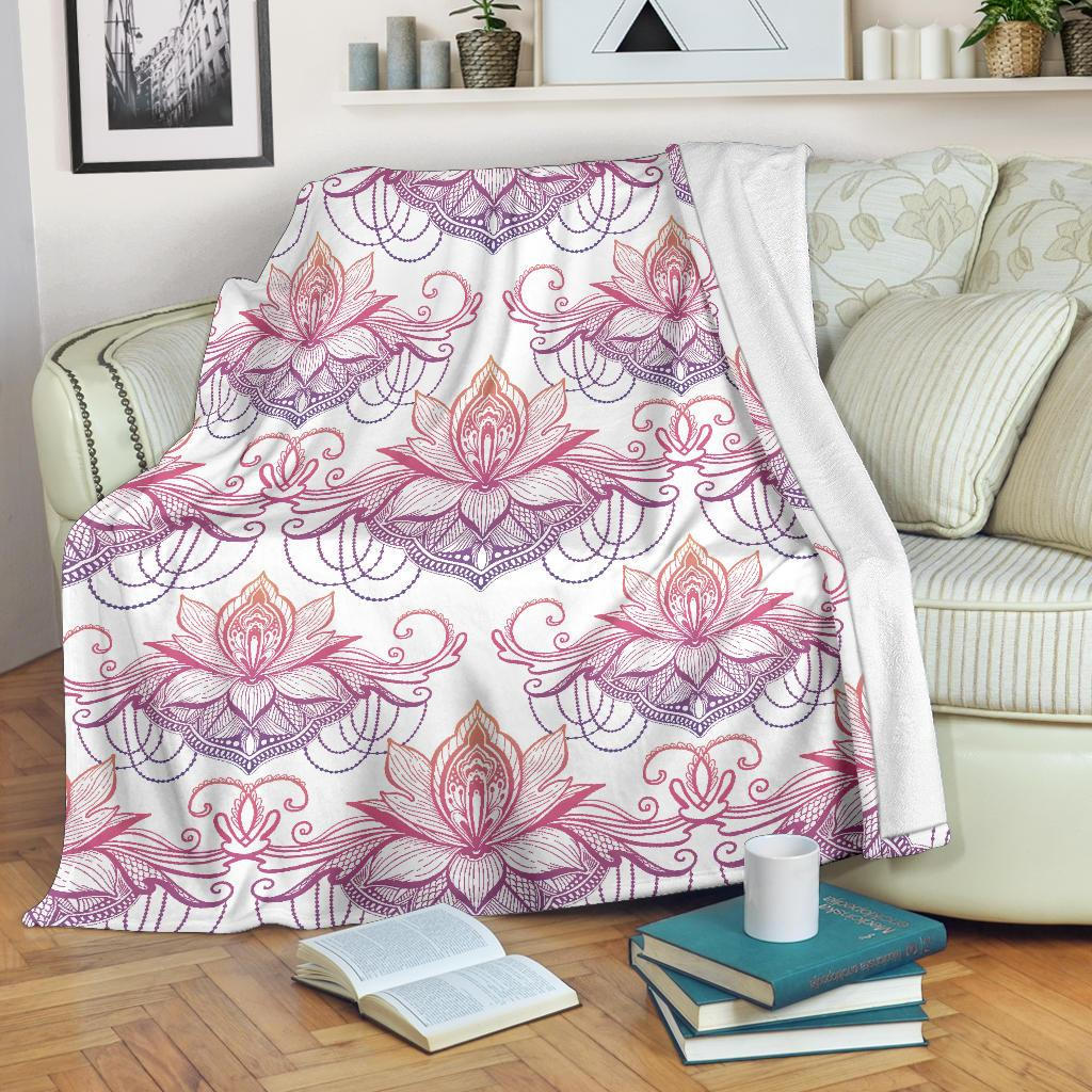 Ombre Lotus (White) - Throw Blankets-Amaze Style™-Premium BlanketOmbre Lotus (White) - Throw Blankets-Youth (56 x 43 inches / 140 x 110 cm)-Vibe Cosy™