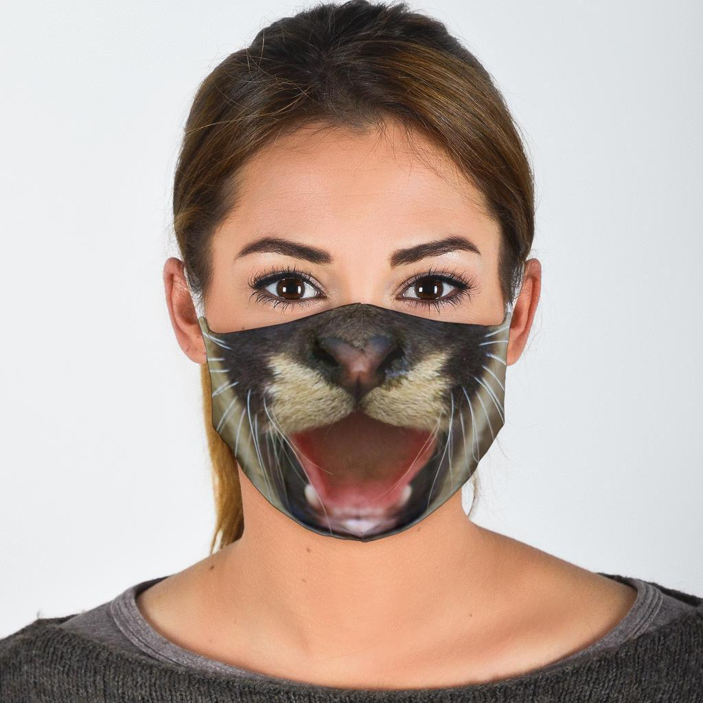 Cougar / Mountain Lion Face Mask (Cub)-Amaze Style™-Face Mask - Cougar / Mountain Lion Face Mask (Cub)-Adult Mask + 2 FREE Filters (Age 13+)-Vibe Cosy™
