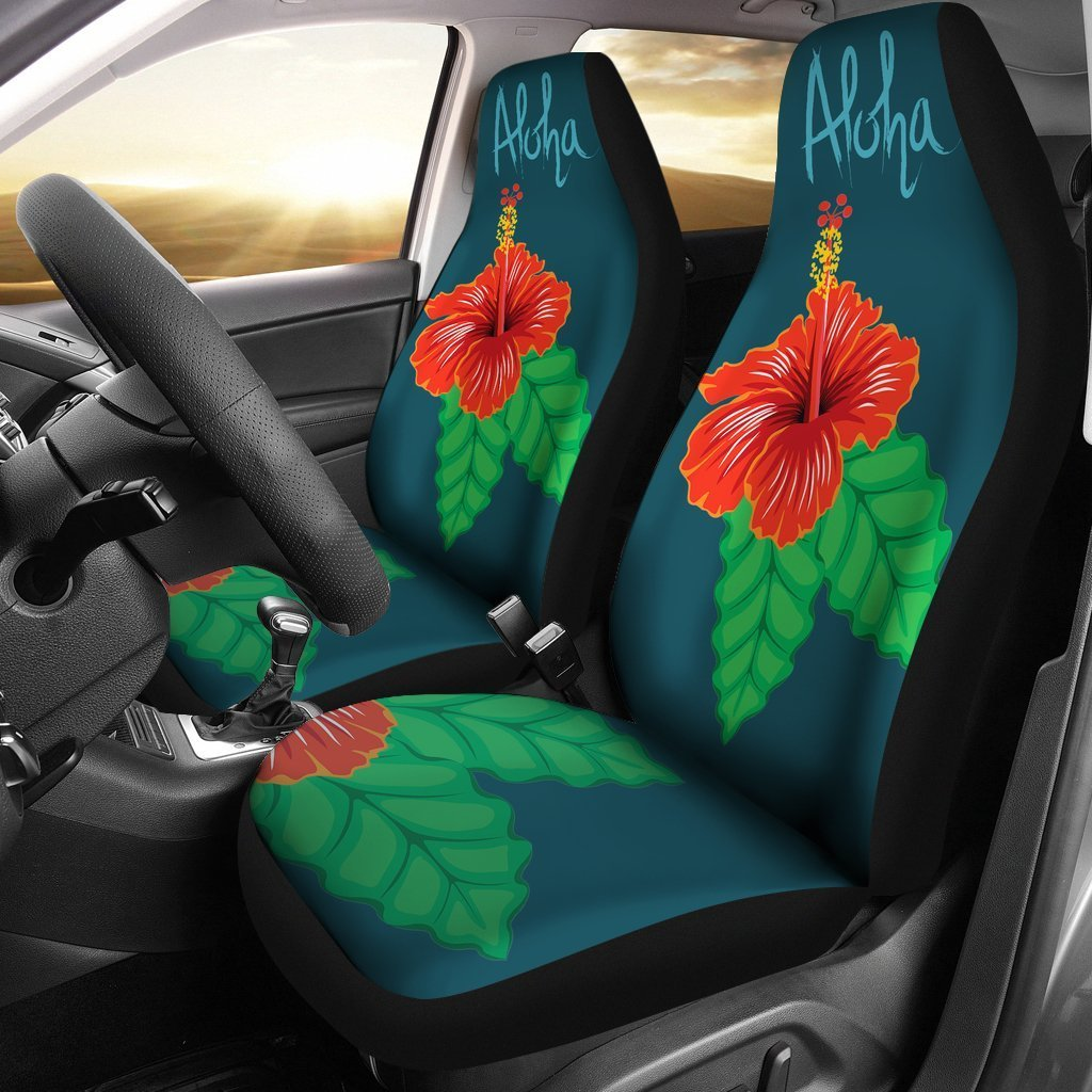 Aloha Hibiscus Car Seat Covers - AH-CAR SEAT COVERS-Alohawaii-Car Seat Covers - 1-Universal Fit-White-Vibe Cosy™