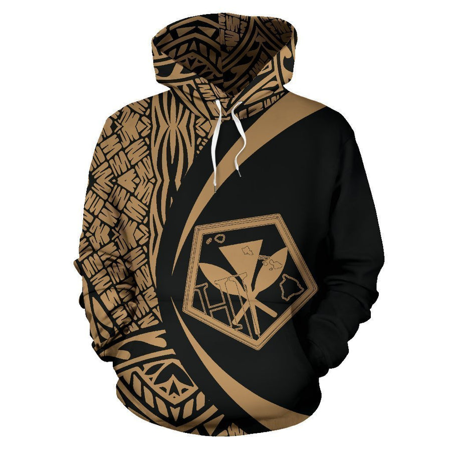 Kanaka Polynesian Tribal Hoodie - Circle Style Golden Color - AH-ALL OVER PRINT HOODIES (P)-Phaethon-Hoodie-S-Vibe Cosy™