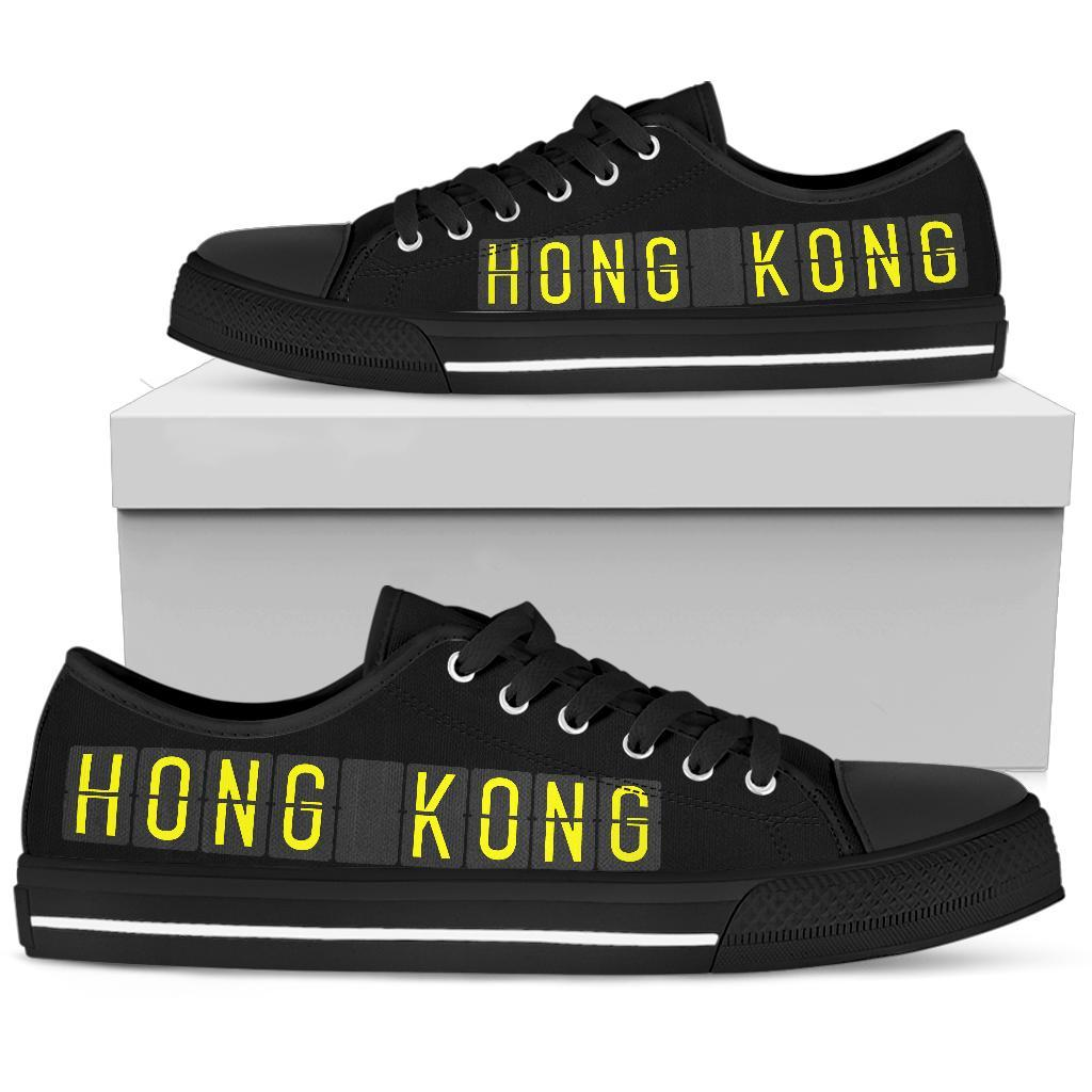 Airport Destinations HONG KONG (Black) - Low Top Canvas Shoes-Amaze Style™-placeholder-placeholder-Vibe Cosy™