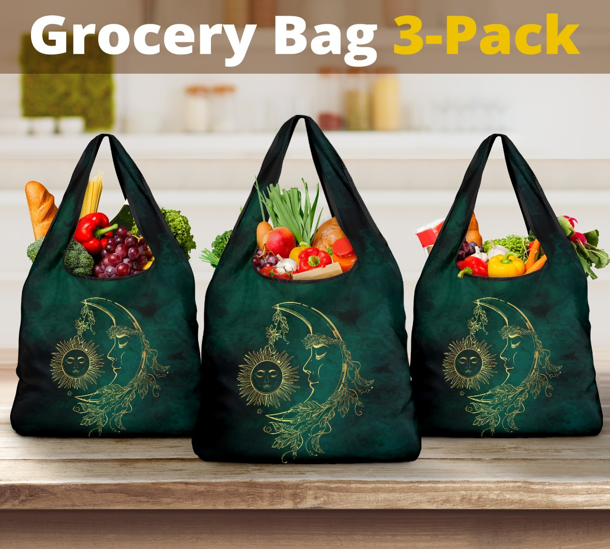 Sun Moon Reusable Grocery Bags Set-Amaze Style™-Sun Moon Reusable Grocery Bags Set-Vibe Cosy™
