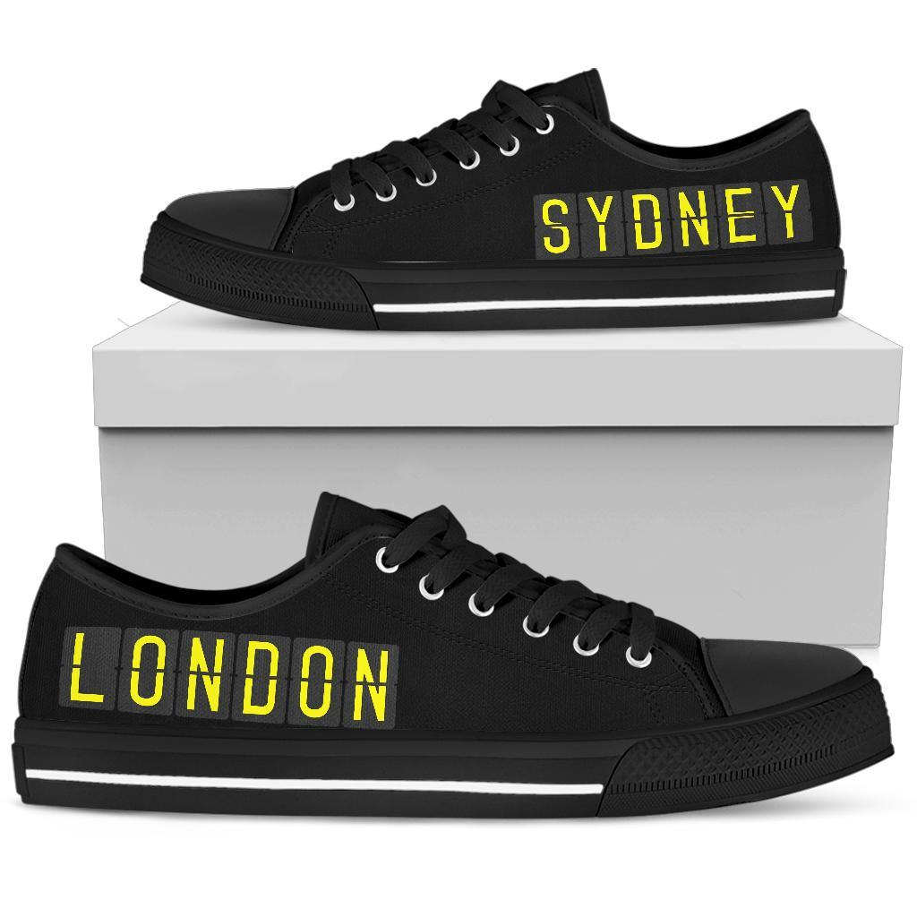 Airport Destinations SYDNEY to LONDON (Black) - Low Top Canvas Shoes-Amaze Style™-placeholder-placeholder-Vibe Cosy™
