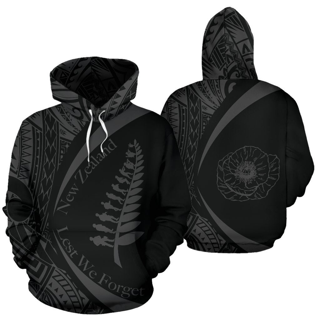 New Zealand Lest We Forget Maori Hoodie Circle Style - Grey J95-Apparel-Khanh Arts-Hoodie-S-Vibe Cosy™