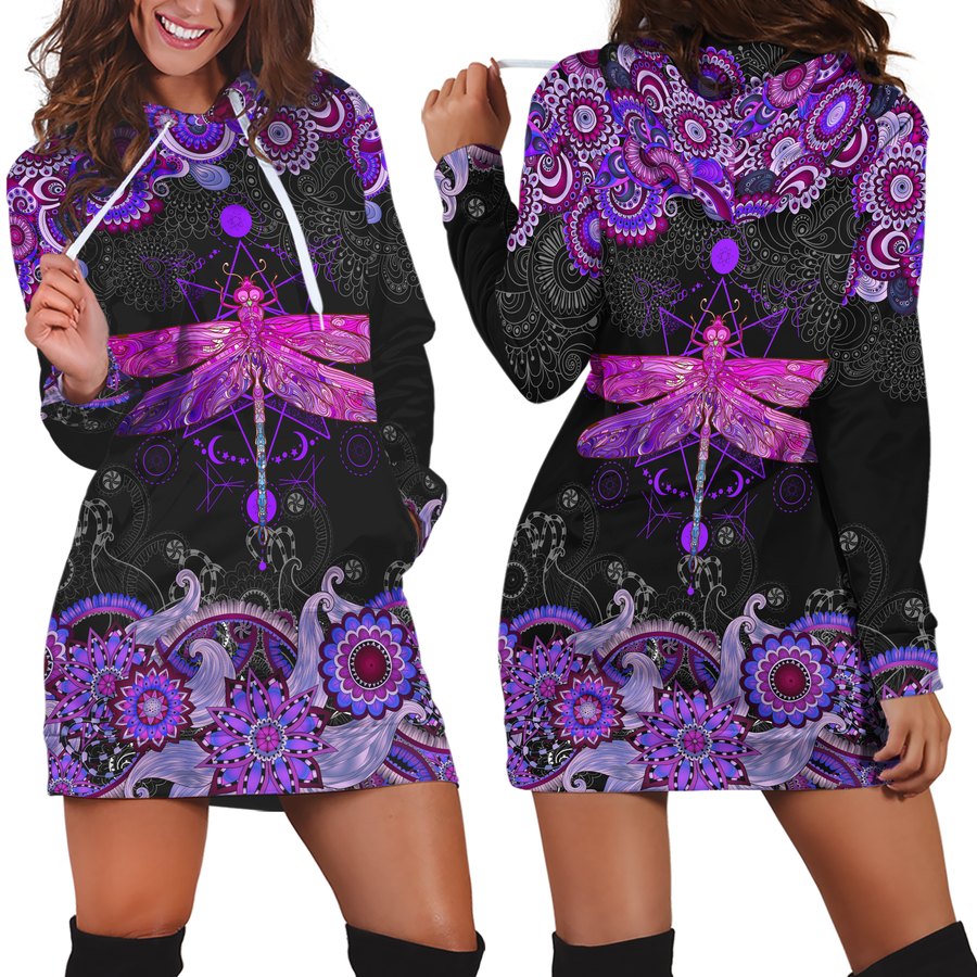 3D All Over Amazing Purple Dragonfly Hoodie Dress Blanket JJ140401-Apparel-TA-Hoodie Dress-S-Vibe Cosy™