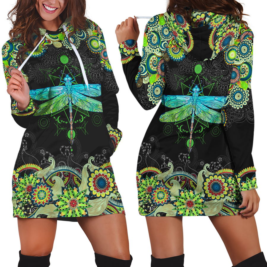 3D All Over Amazing Dragonfly Hoodie Dress Blanket JJ040401-Apparel-TA-Hoodie Dress-S-Vibe Cosy™